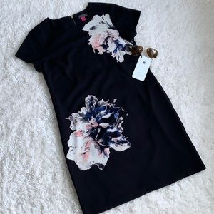 Vince Camino Black Floral Shift Dress